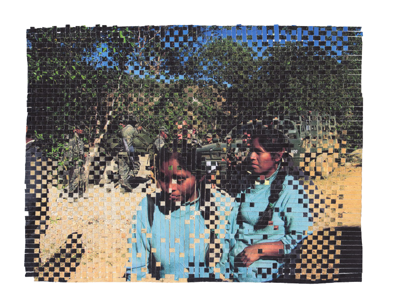 woven image of two women